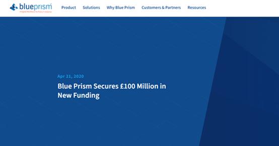 "Blue Prism获得1亿英镑资金:疫情期间RPA行业逆势而上"""