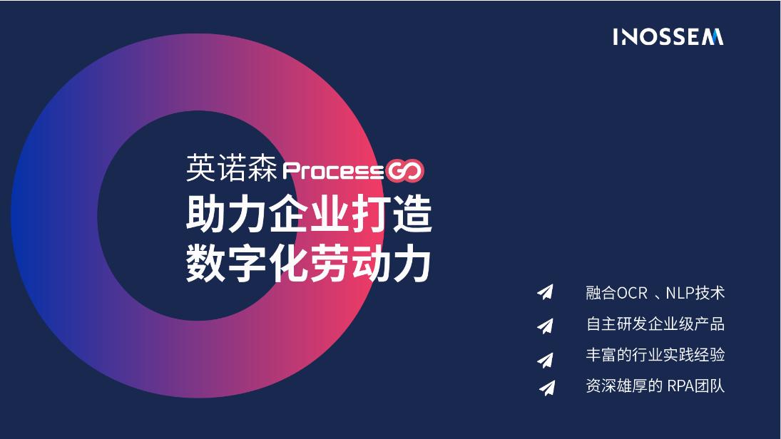 """英诺森RPA ProcessGo:为企业量身定制的""""数字化劳动力"""""""""""